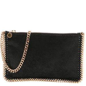 Stella McCartney Black Leather Falabella Clutch
