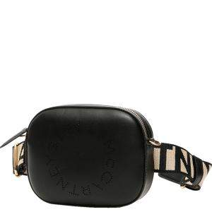 Stella McCartney Black Perforated Logo Leather Belt Bag