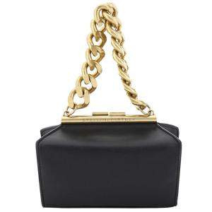 Stella McCartney Black Leather Structured Macro Chain Small Bag