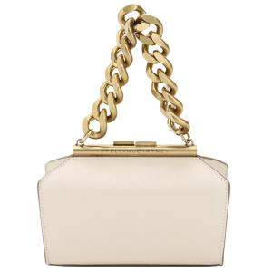 Stella McCartney Cream Leather Structured Macro Chain Small Bag