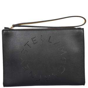 Stella McCartney Black Leather Stella Logo Clutch Bag