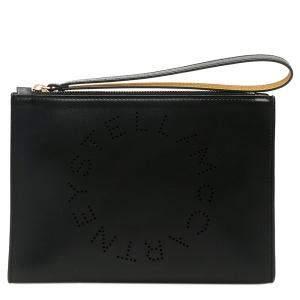 Stella McCartney Black Leather Flap Zip Stella Logo Clutch