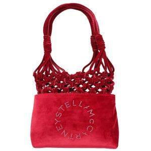 Stella McCartney Red Velvet Logo-embellished Knotted Bag