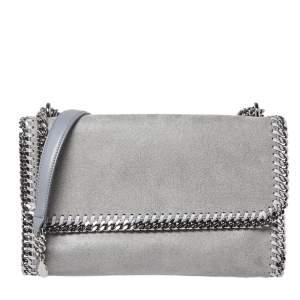Stella McCartney Grey Faux Leather Falabella Flap Shoulder Bag
