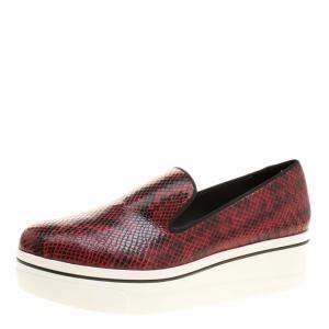 Stella McCartney Burgundy Faux Python Creeper Platform Loafers Size 41