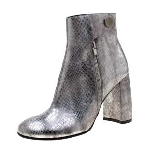 Stella McCartney Metallic Silver Python Embossed Faux Leather Ankle Boots Size 40
