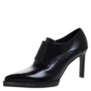 Stella McCartney Black Faux Leather Pointed Toe Ankle Booties Size 36