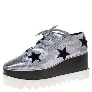 Stella McCartney Metallic Silver Python Effect Faux Leather And Faux Fur Elyse Star Platform Derby Size 41