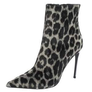 حذاء بوت كاحل ستيلا مكارتني مقدمة مدببة قطيفة طباعة فهد أسود / بيج مقاس 38