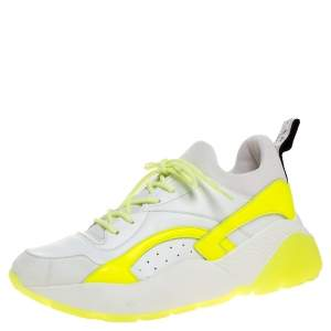 Stella McCartney White/Neon Green Faux Leather/Fabric Eclypse Lace Sneakers Size 41