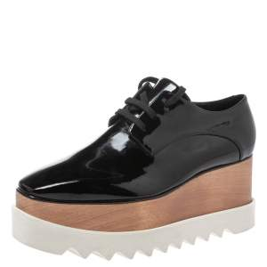 Stella McCartney Black Faux Patent Leather Elyse Platform Derby Sneakers Size 40