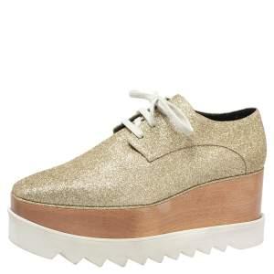 Stella McCartney Metallic Gold Glitter Elyse Platform Derby Sneakers Size 40