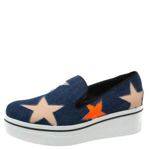 Stella McCartney Blue Denim Binx Star Platform Slip On Sneakers Size 40