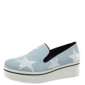 Stella McCartney Light Blue Denim Binx Star Platform Slip On Sneakers Size 41