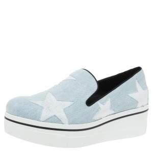 Stella McCartney Blue Denim Star Binx Platform Sneakers Size 40