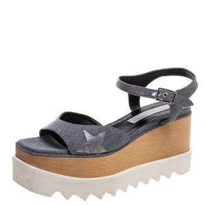 Stella McCartney Grey Denim Elyse Platform Ankle Strap Sandals Size 37