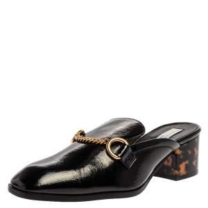 Stella McCartney Black Faux Patent Leather Chain Detail Block Heel Mules Size 36.5