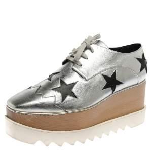 Stella McCartney Silver/Black Faux Leather Elyse Star Platform Derby Size 41