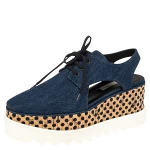 Stella McCartney Blue Denim Elyse Cut Out Derby Size 39