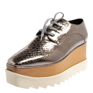 Stella McCartney Metallic Silver Snake Embossed Faux Leather Elyse Platform Derby Sneakers Size 39