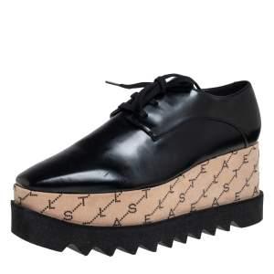 حذاء ديربي ستيلا مكارتني جلد أسود صناعي مونوغرامي إليسي نعل سميك مقاس 38.5