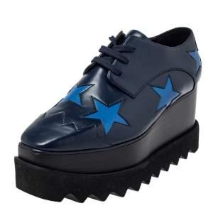 Stella McCartney Blue  Faux Leather Elyse Sneakers Size 35