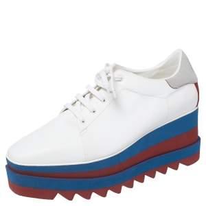 حذاء ديربي ستيلا مكارتني إيلسي جلد صناعي أبيض نعل سميك مقاس 41