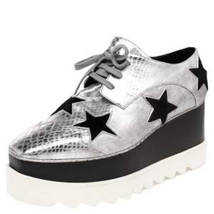 Stella McCartney Metallic Silver Python Effect Faux Leather And Faux Fur Elyse Star Platform Derby Size 37