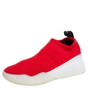 Stella McCartney Red Knit Fabric Slip On Sneakers Size 36