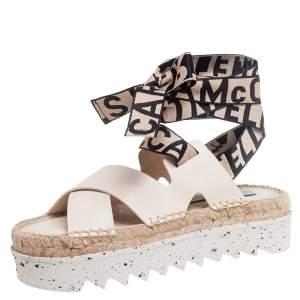 Stella McCartney Cream Faux Leather Gaia Ankle Wrap Espadrille Sandals Size 36
