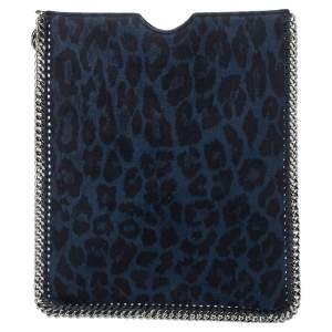 Stella McCartney Blue/Black Leopard Print Faux Leather Falabella iPad Case