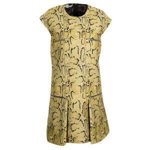 Stella McCartney Beige Metallic Snakeskin Jacquard Dress M
