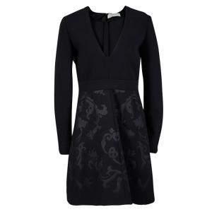 Stella McCartney Black Floral Embossed Jacquard V-Neck Long Sleeve Dress S