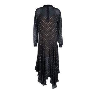 Stella McCartney Navy Blue Lurex Clip Dot Chiffon Maxi Dress M