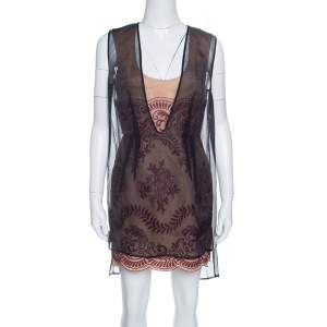 Stella McCartney Black and Beige Floral Embroidered Layered Organza Dress M