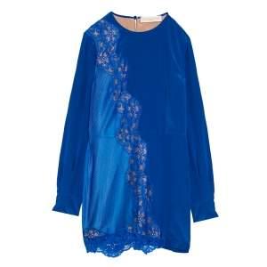 Stella McCartney Klein Blue Floral Lace Insert Mesh Paneled Silk Dress S
