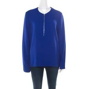 Stella McCartney Blue Crepe Zip Detail Arlesa Blouse S
