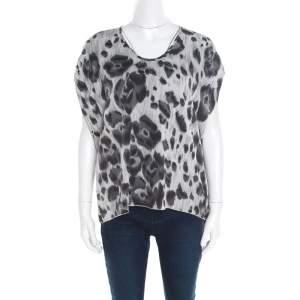 Stella McCartney Grey Peony Animal Print Silk Pleated Sleeve Boxy Blouse M
