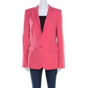 Stella McCartney Pink Textured Wool Tailored Boxy Blazer M