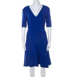 Stella McCartney Blue Stretch Crepe Asymmetrical Hem Flared Dress S
