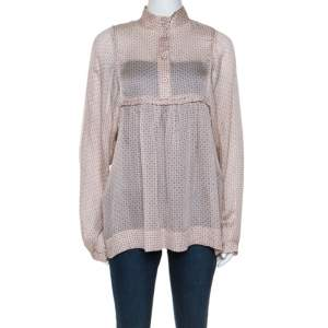 Stella McCartney Pale Pink Printed Silk Billowing Sleeve Blouse S
