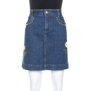 Stella McCartney Blue Denim Embroidered Embellished Short Skirt M