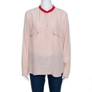 Stella McCartney Pale Pink Silk Crepe Contrast Collar Detail Top M