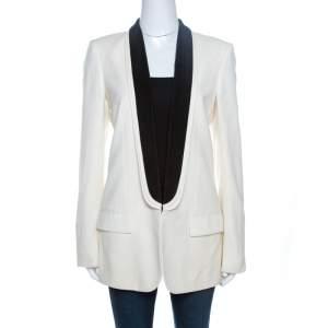 Stella McCartney Ivory Wool Contrast Lapel Detail Tuxedo Jacket M