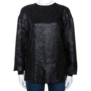 Stella McCartney Black Lurex Floral Silk Jacquard Donna Top S