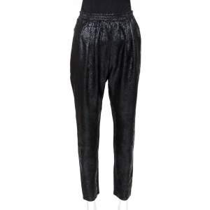 Stella McCartney Black Lurex Floral Silk Jacquard Christine Pants S