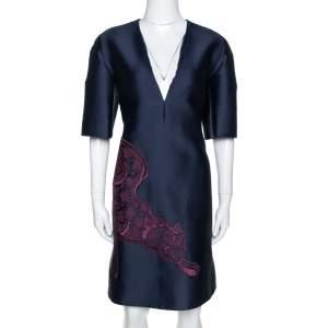فستان ستيلا مكارتنيحرير أزرق دااكن بنقشة نمر مقاس متوسط (ميديوم)