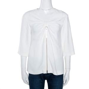 Stella McCartney Off White Crepe Bow Detail Top M