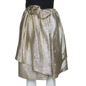 Stella McCartney Gold Lurex Gathered Brynn Asymmetric Skirt S