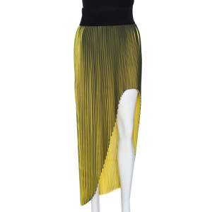 Stella McCartney Yellow Plisse Georgette Jeanne Asymmetric Skirt S